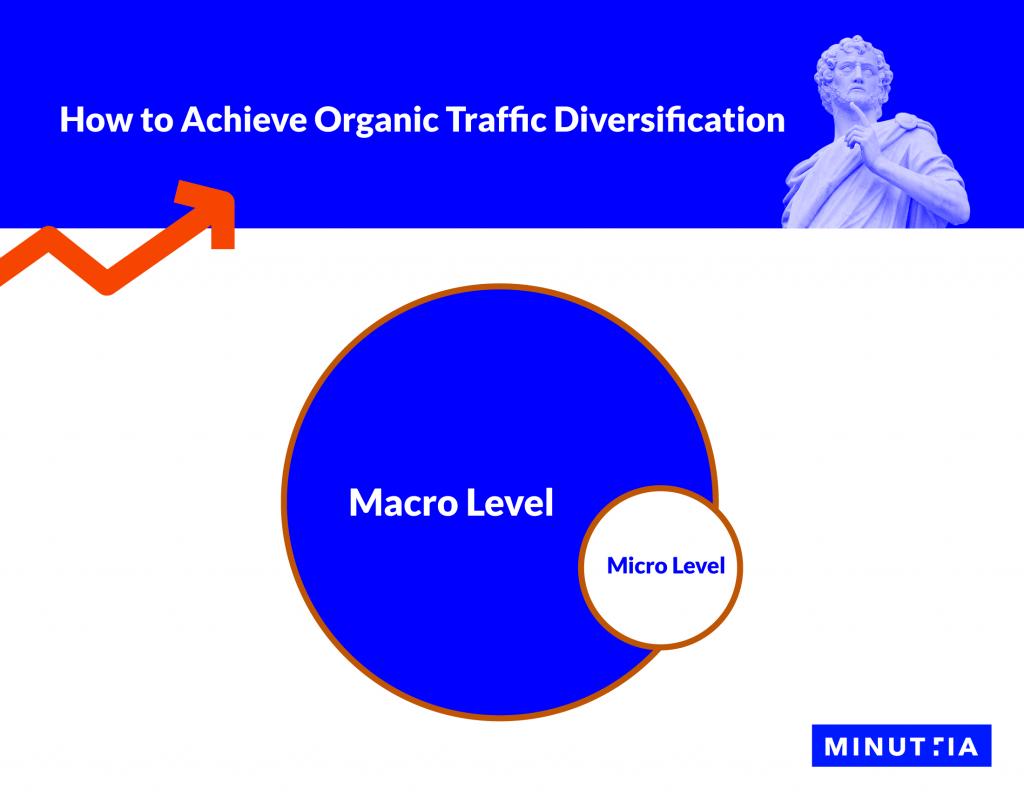 A Venn diagram including macro-level and micro-level organic traffic diversification